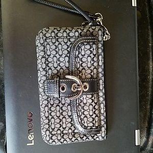 Coach signature wristlet wallet leather trim black